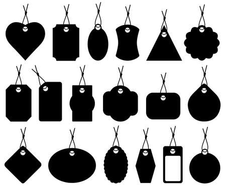 blank label: Set of different price tags isolated on white