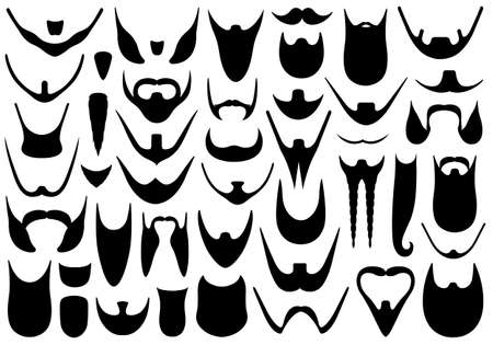 Set of different beards isolated on white Illustration
