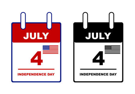 calendar isolated: Independence day calendar isolated on white