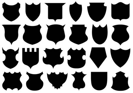 buckler: Set of different shields isolated on white Illustration