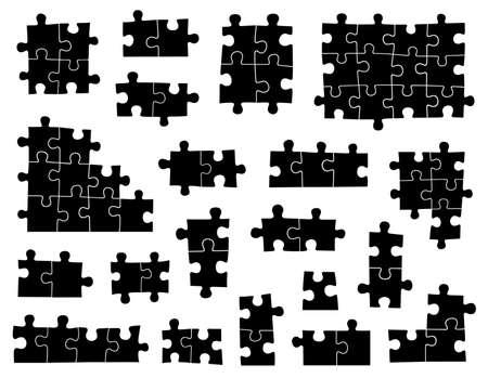 piezas de rompecabezas: Conjunto de diversas piezas de un rompecabezas aislados en blanco