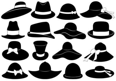 mujeres fashion: Los sombreros de la ilustración aislado en blanco Vectores