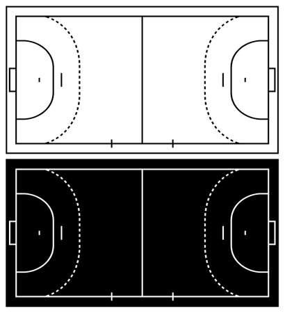 terrain de handball: terrain de handball isolé sur blanc