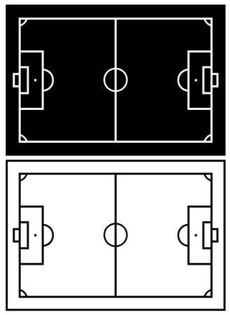 cancha de futbol: campo de fútbol blanco y negro aislado en blanco