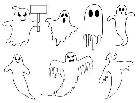 haunt: Set of different ghosts isolated on white