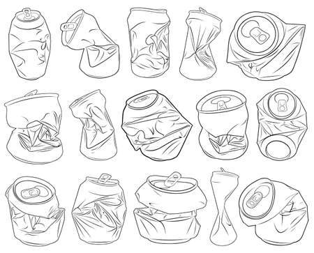 receptacle: Set of different crushed cans isolated on white