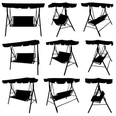Set of different garden swings isolated on white