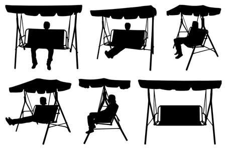 Set of different garden swings