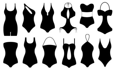 Illustration of different swimsuits isolated on white background.