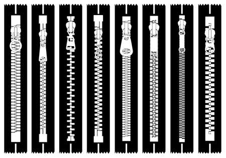 Illustration of different zippers isolated on white background.