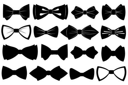 Set of different bow ties isolated on white Vectores