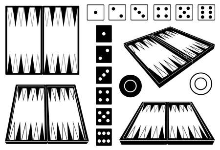 Set of different backgammon boards isolated on white Illustration