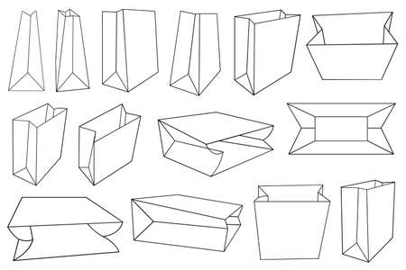Illustration of different paper bags isolated on white