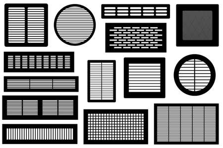Set of different ventilations grilles isolated on white Çizim
