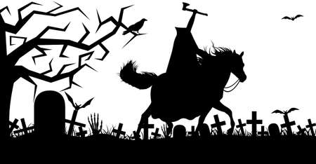 Illustration of a headless horseman isolated on white