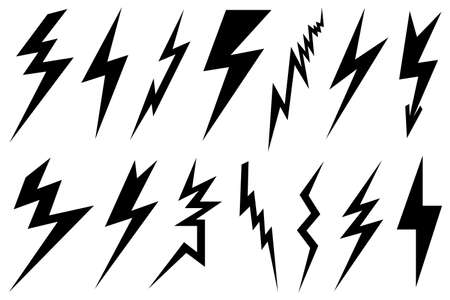 Set of different lightning bolts isolated on white