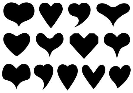 Set of different hearts isolated on white Vector Illustration
