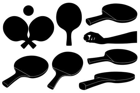 Set of different ping pong rackets isolated on white