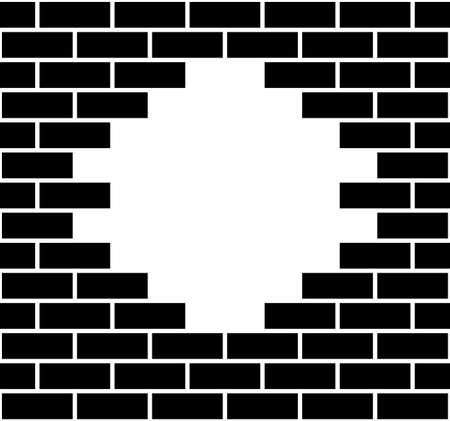 Illustration of a hole in a brick wall