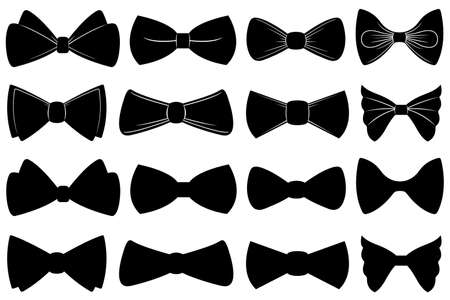 Set of different bow ties isolated on white Illustration