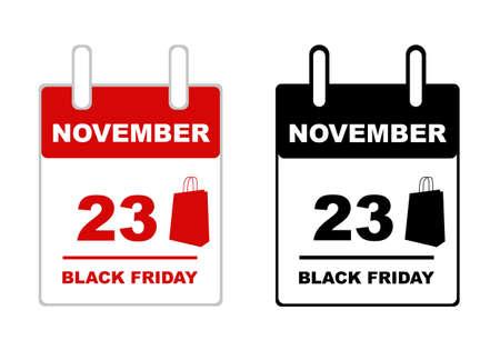 2018 Black Friday calendar isolated on white