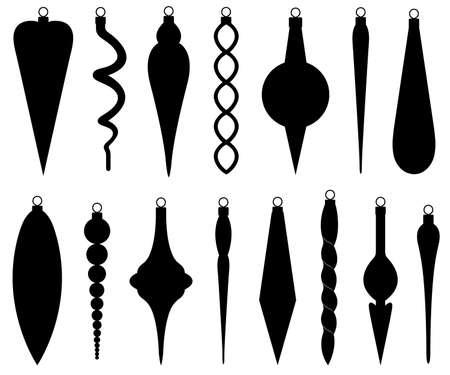 Conjunto de diferentes adornos navideños aislado en blanco Ilustración de vector