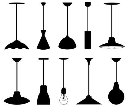 Set of different pendant lamps isolated on white
