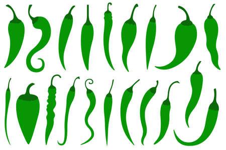 Set aus verschiedenen grünen scharfen Chilischoten, isoliert auf weiss Vektorgrafik