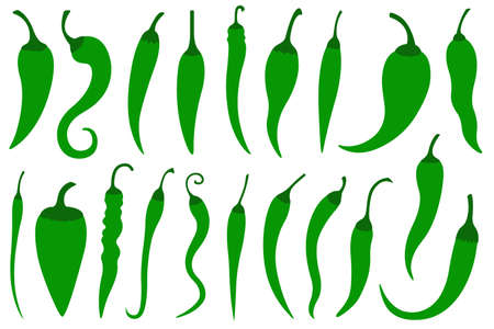 Set of different green hot chili peppers isolated on white Illustration