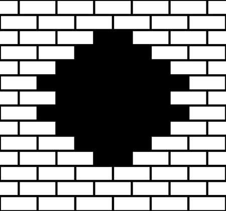 Ilustración de un agujero en una pared de ladrillos