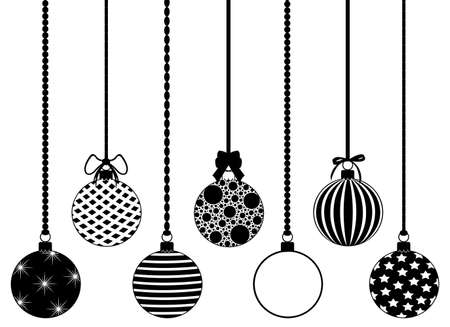 Set of different hanging Christmas decorations isolated on white