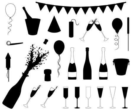 Set of different New Year's Eve objects isolated on white Ilustração