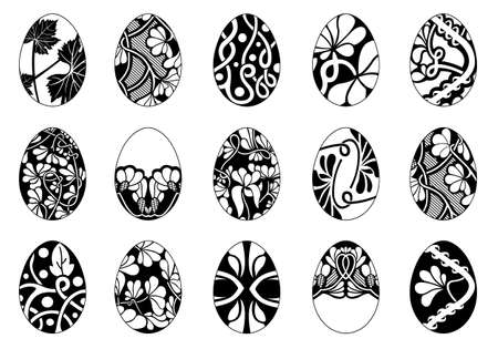 Set of different easter eggs isolated on white
