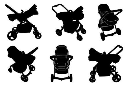 Set of different baby strollers isolated on white