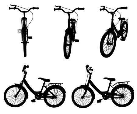 Set of different bicycles isolated on white