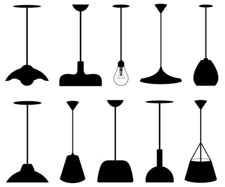 Collection of different pendant lamps isolated on white  イラスト・ベクター素材