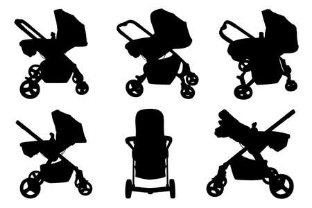 Set of different baby strollers isolated on white Illustration