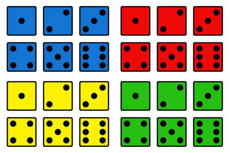 Illustration of color dice isolated on white Vektorgrafik