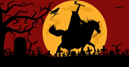 Headless man riding a horse in a cemetery with red in background