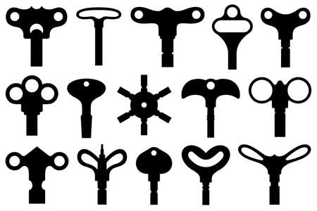 Collection of different wind up keys isolated on white