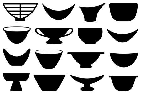 Collection of different bowls isolated on white