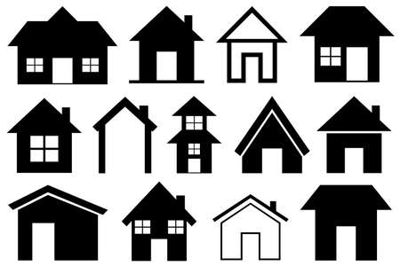 Illustration of different houses isolated on white Ilustracje wektorowe