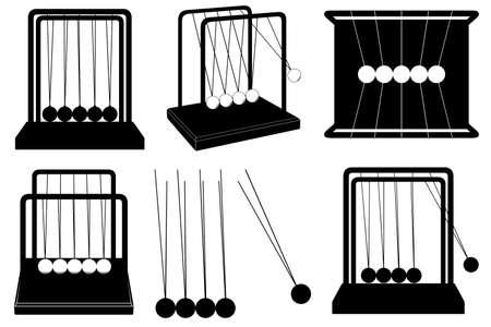 Set of Newton's cradle illustration isolated on white