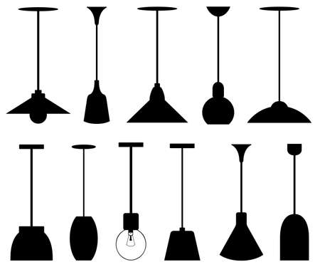 Illustration of different pendant lamps isolated on white