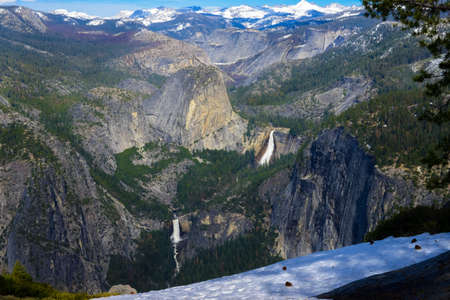 dome of the rock: Beautiful Half Dome view at Glacier Point, Mariposa County, Yosemite National Park in the western Sierra Nevada mountains. With Nevada Fall and Vernal Fall.