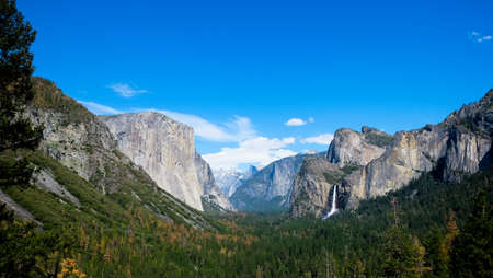 Breath taking Panoramic view of El Capitan and Bridalveil Fall at Tunnel View , Mariposa County, Yosemite National Park in the western Sierra Nevada mountains.