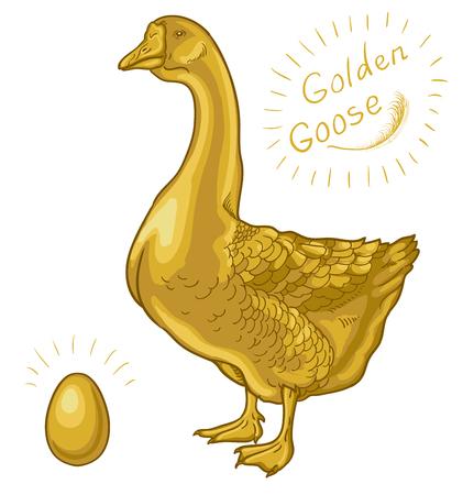 Golden Goose, ganso sobre un fondo blanco, huevo de oro