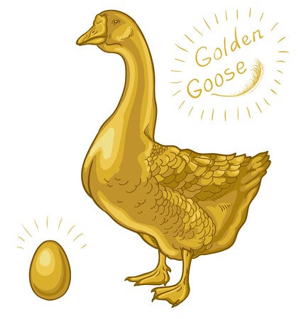 Golden Goose, goose on a white background, golden egg