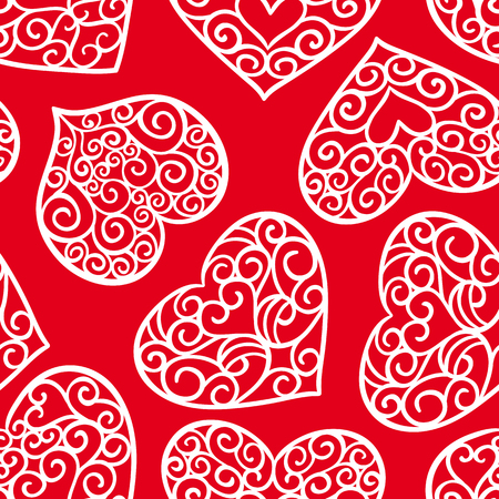 Valentines day vintage seamless pattern on a red background 일러스트