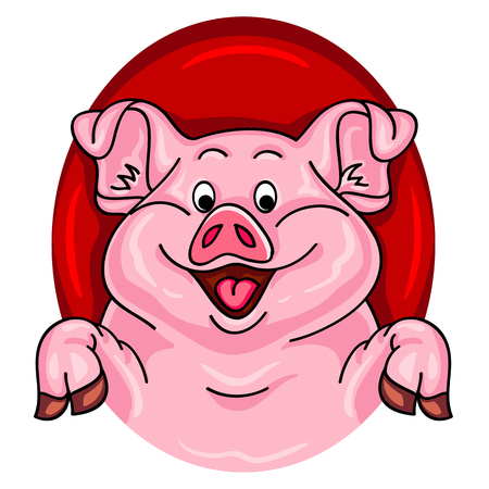 Cartoon pig coming out of a red hole
